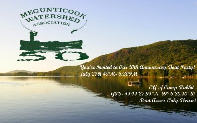 Megunticook Watershed Association's 50th Anniversary Boat Party! July 27th 4PM- 6:30PM